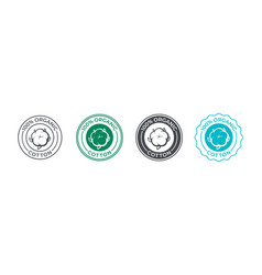 Cotton organic 100 icon flower logo for eco vector