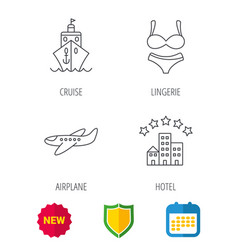 Cruise lingerie and airplane icons vector