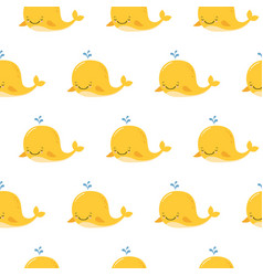 cute background with cartoon yellow whales kawaii vector image