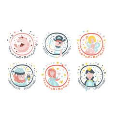 Cute childish fairy tale cartoon characters set vector