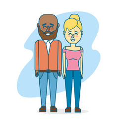 Cute couple with hairsty design and clothes vector