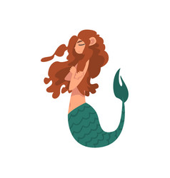 Cute little mermaid swimming with folded hands vector