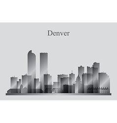 Denver city skyline silhouette in grayscale vector image