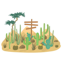 Desert landscape background with cactus and vector