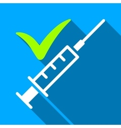 Done Vaccination Flat Long Shadow Square Icon vector image