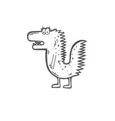 doodle icon of stupid funny crocodile vector image