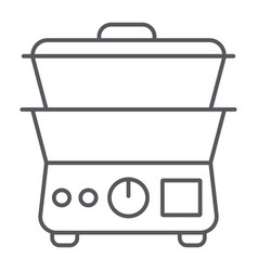 double boiler thin line icon kitchen and vector image