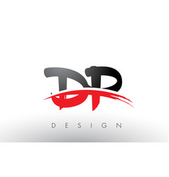 Dp d p brush logo letters with red and black vector