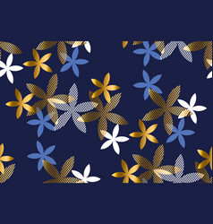 elegant blue and gold floral seamless pattern vector image