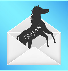Email envelope open with trojan horse computer vector