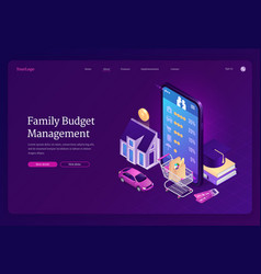 Family budget management isometric landing page vector