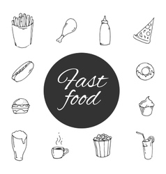 fast food Sketch design icon set vector image