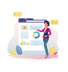 Financial analytics girl with interactive display vector