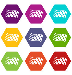 finish flag icons set 9 vector image