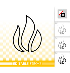 Fire simple flame bonfire black line icon vector