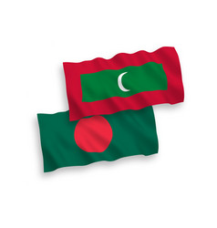 Flags of maldives and bangladesh on a white vector