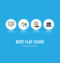 Flat icon computer set of notebook display vector