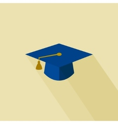 Flat long shadow graduation hat vector