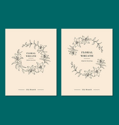 Floral wreath set wedding invitation templates vector