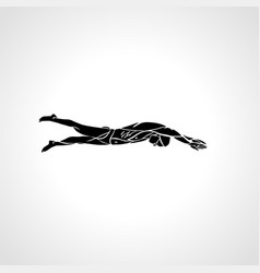 freestyle swimmer silhouette sport pro swimming vector image