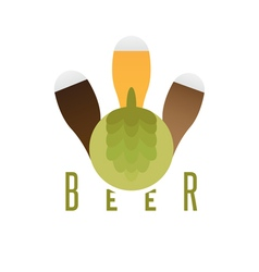 glasses with beer and hop design vector image