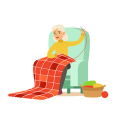 Grandmother sewing sitting in a chair colorful vector