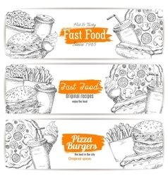 Greasy and unhealthy fast food banner sketch vector