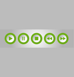 Green white round music control buttons set vector