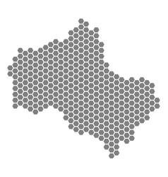 Grey hexagon moscow oblast map vector