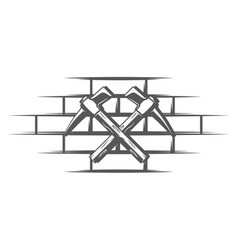 hammers located on a brick wall vector image