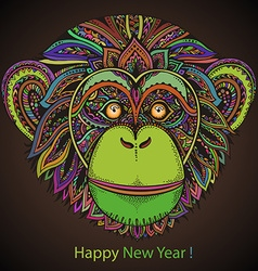Hand drawn colorful of ornate entangle chimp vector