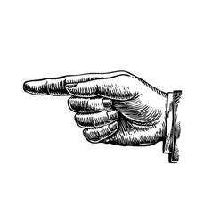 Hand drawn retro forefinger vector