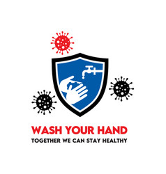 Hand wash prevent from spread germs symbol vector