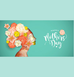 happy mothers day card of papercut mom and flowers vector image