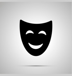 happy theater mask silhouette simple icon vector image