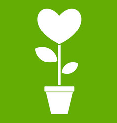 Heart flower in a pot icon green vector