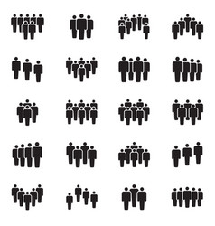 Human persons crowd black icons office vector