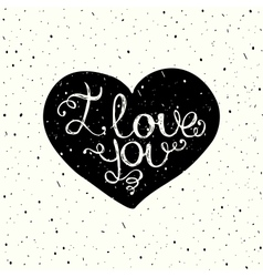 I love you with hand lettering on the heart vector