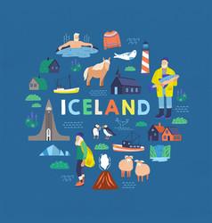 Iceland symbols flat tourist vector