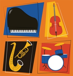 jazz instruments Set vector image