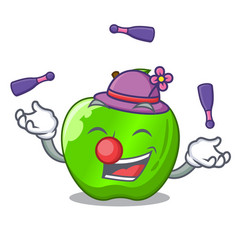 Juggling green smith apple isolated on cartoon vector