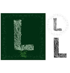Leaves alphabet letter l vector