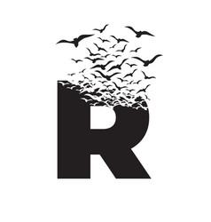 Letter r with effect destruction dispersion vector