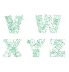 letters v w x y z pattern logo farm fresh fruits vector image
