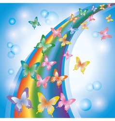 Light colorful background with butterflies rainbow vector
