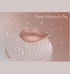 Lips kiss on valentines day vector