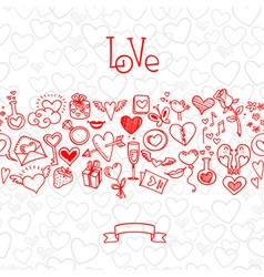 Love and hearts doodles vector