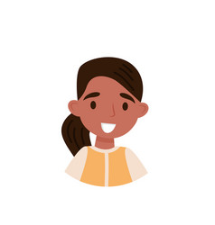 lovely brunette girl avatar of cute little girl vector image