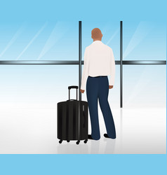 man standing besides his luggage or suitcase at vector image