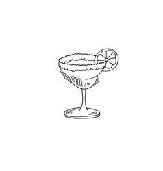 margarita cocktail sketch drawing icon vector image